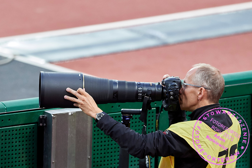 Great Britain, London - 2017 August 11: Photographer with Nikon camera works during IAAF World Championships London 2017 Day 8 at London Stadium on August 11, 2017 in London, Great Britain.<br /> <br /> Mandatory credit:<br /> Photo by &copy; Adam Nurkiewicz<br /> <br /> Adam Nurkiewicz declares that he has no rights to the image of people at the photographs of his authorship.<br /> <br /> Picture also available in RAW (NEF) or TIFF format on special request.<br /> <br /> Any editorial, commercial or promotional use requires written permission from the author of image.