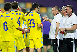 Branko Ilic of Astana and Stanimir Stoilov, head coach of Astana during First Leg football match between NK Maribor and FC Astana in Second qualifying round of UEFA Champions League, on July 14, 2015 in Stadium Ljudski vrt, Maribor, Slovenia. Photo by Vid Ponikvar / Sportida