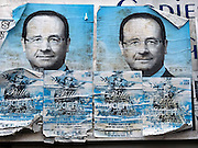 Frankrijk, Lille, 18-8-2013Affiches, aanplakbiljetten van de Franse president Francois Hollande op een muur. Zijn populariteit is sterk gedaald sinds zijn verkiezing. Lille ligt in een sterk de verarmde regio noordwest. Het is de hoofdstad van Frans Vlaanderen, van de regio Nord Pas de Calais en van het Noorder departement.Foto: Flip Franssen/Hollandse Hoogte