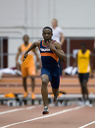 Brandon Carter (Virginia) races in the men's 55m dash. Day 1 of the Virginia Tech Invitational Track and Field meet was held at the Rector Field House on the campus of Virginia Tech in Blacksburg, VA on January 11, 2008.