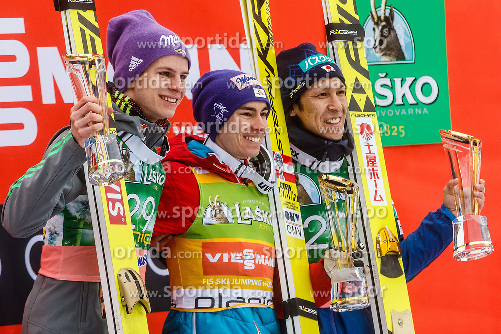 Andreas Wellinger (GER) an Stefan Kraft (AUT) with Noriaki Kasai (JPN) during trophy ceremony after Ski Flying Hill Men's Individual Competition at Day 4 of FIS Ski Jumping World Cup Final 2017, on March 26, 2017 in Planica, Slovenia. Photo by Grega Valancic / Sportida