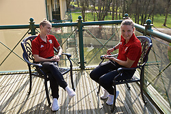 CARDIFF, WALES - Monday, April 1, 2019: Wales' Jessica Fishlock (L) and Hayley Ladd during a media session at the Vale Resort ahead of a friendly against the Czech Republic. (Pic by David Rawcliffe/Propaganda)