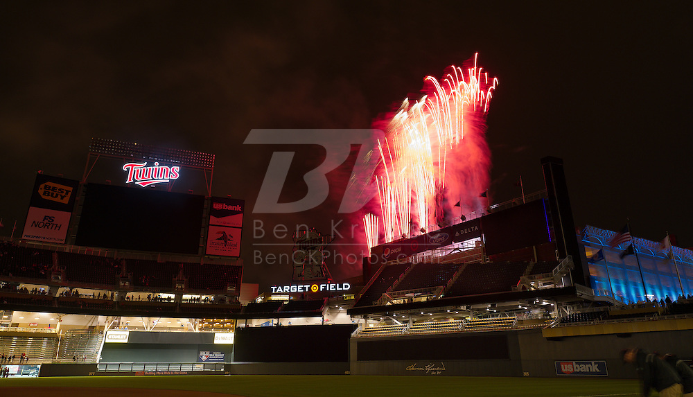 A general view of Target Field during a fireworks display after a game between the Minnesota Twins and Los Angeles Angels in Minneapolis, Minnesota on May 27, 2011.