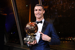 7 December 2017 -  Ballon d'Or 2017 - Cristiano Ronaldo with the Ballon d'Or trophy - Photo: Presse Sports / Offside