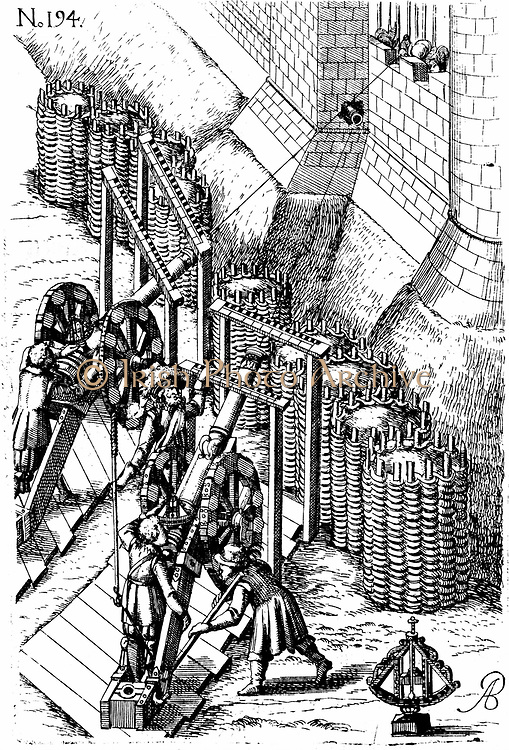 Laying siege cannon on target .Bottom  right is a gunner's level.  Earth-filled baskets called gabions give some protection for guns and men. From Agostino Ramelli 'Le diverse et artificiose machine', 1620. First edition 1588. Ramelli was military engineer to Henry III  of France.