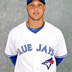March 2, 2012; Dunedin, FL, USA; Toronto Blue Jays catcher Antonio Jimenez (71) poses for a portrait during photo day at Florida Auto Exchange Stadium.  Mandatory Credit: Derick E. Hingle-US PRESSWIRE