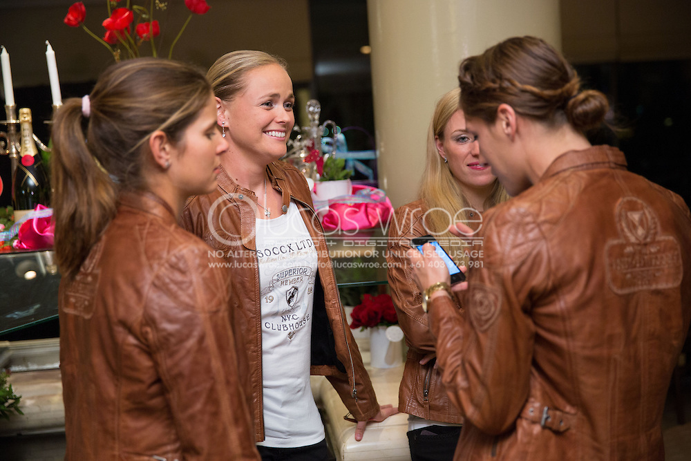 Julia Görges (GER), Anna-Lena Groenefeld (GER), Andrea Petkovic (GER) And Angelique Kerber (GER), April 17, 2014 - TENNIS : Federations Cup, Semi-Final, Australia v Germany, Official Dinner, Stamford Plaza Hotel, Brisbane, Victoria, Australia. Credit: Lucas Wroe