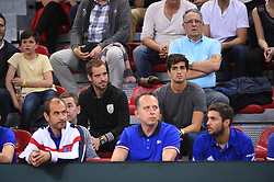 Richard Gasquet (FRA) and Pierre-Hugues Herbert (FRA) support the french Davis Cup team during day 1 at the quarter final round tie against Great Britain at the Kindarena in Rouen, France on april, 7, 2017. Photo by Corinne Dubreuil/ABACAPRESS.COM