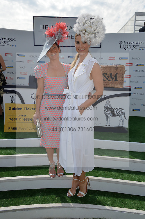 Left to right,  winner of Best Dressed LEIGH JOHNSON and VOGUE WILLIAMS at the Investec Ladies Day at the Investec Derby Festival 2015 at Epsom Racecourse, Epsom, Surrey on 5th June 2015.