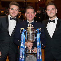 St Johnstone FC Scottish Cup Celebration Dinner at Perth Concert Hall...01.02.15<br /> Chairman Steve Brown with his sons Ryan and Daryl<br /> Picture by Graeme Hart.<br /> Copyright Perthshire Picture Agency<br /> Tel: 01738 623350  Mobile: 07990 594431