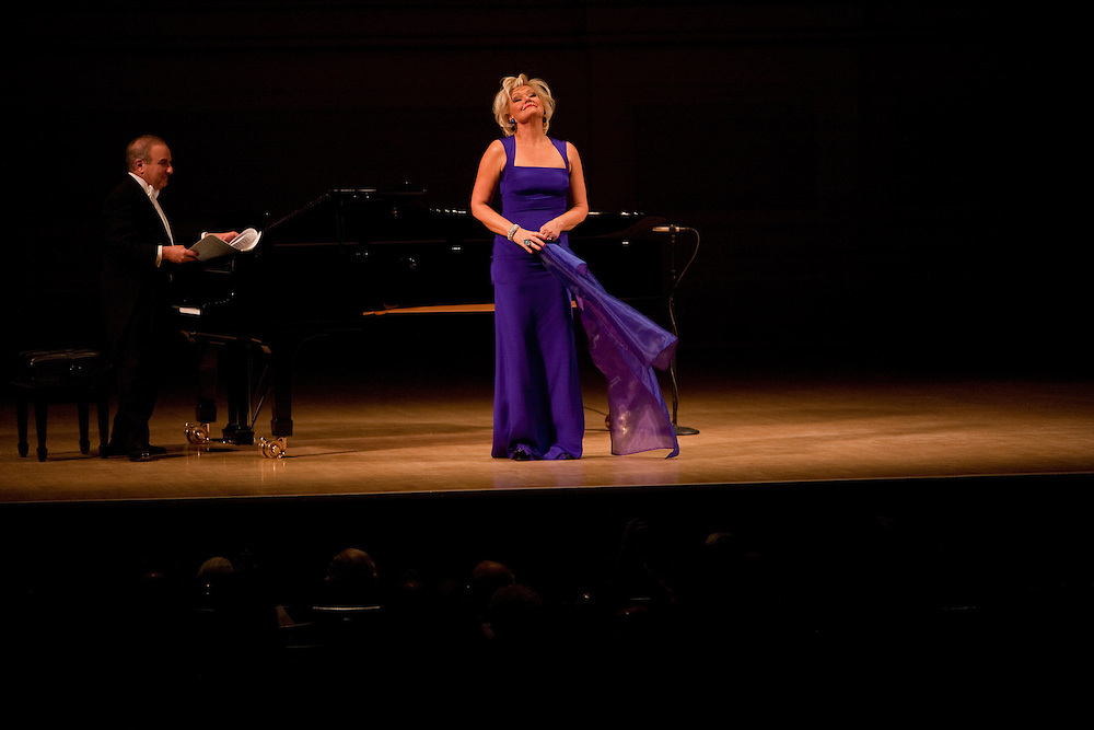 Soprano Karita Mattila with Martin Katz on piano performing Francis Poulenc 'Banalites' and Claude Debussy Cinq Poemes de Baudelaire at the Isaac Stern Auitorium at Carnegie Hall on December 10, 2011.