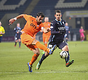 Kilmarnock captain Manuel Pascali clears from Dundee's Luka Tankulic -  Dundee v Kilmarnock, SPFL Premiership at Dens Park <br /> <br /> <br />  - &copy; David Young - www.davidyoungphoto.co.uk - email: davidyoungphoto@gmail.com