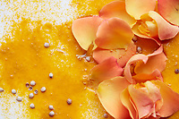 Yogurt smoothies with exotic ingredients, including turmeric, rose, pomegranate, honey and edible flowers.