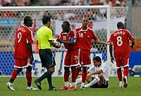 Photo: Glyn Thomas.<br />England v Trinidad & Tobago. Group B, FIFA World Cup 2006. 15/06/2006.<br /> Trinidad & Tobago's Dwight Yorke (C) argues with referee Toru Kamikawa of Japan.