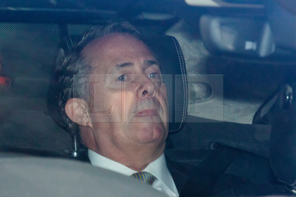 © Licensed to London News Pictures. 20/06/2019. London, UK. Secretary of State for International Trade Liam Fox is driven in to Parliament for the next round of voting in the leadership campaign. The final two candidates will be put to the party membership in a ballot. Photo credit: Rob Pinney/LNP