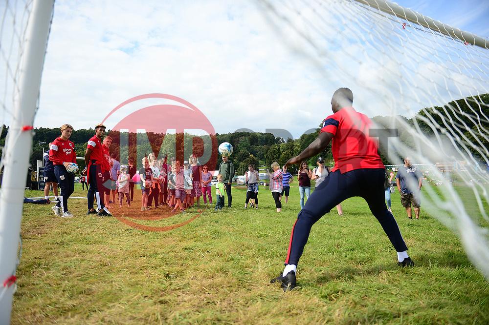 Alhaji Sesay of Bristol City goes in goal for a shoot out at the Bristol Balloon Fiesta - Mandatory by-line: Dougie Allward/JMP - 10/08/2017 - FOOTBALL - Ashton Court - Bristol, England - Bristol City at Balloon Fiesta