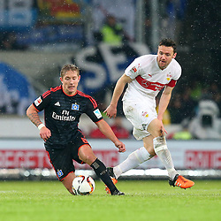 30.12.2015, Mercedes Benz Arena, Stuttgart, GER, 1. FBL, VfB Stuttgart vs Hamburger SV, 19. Runde, im Bild Lewis Holtby (Hamburger SV) Christian Gentner (VfB Stuttgart) // during the German Bundesliga 19th round match between VfB Stuttgart and Hamburger SV at the Mercedes Benz Arena in Stuttgart, Germany on 2015/12/30. EXPA Pictures © 2016, PhotoCredit: EXPA/ Eibner-Pressefoto/ Langer<br /> <br /> *****ATTENTION - OUT of GER*****