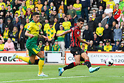 Dominic Solanke (9) of AFC Bournemouth shoots at goal but it is saved by Tim Krul (1) of Norwich City during the Premier League match between Bournemouth and Norwich City at the Vitality Stadium, Bournemouth, England on 19 October 2019.