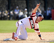 CHICAGO - APRIL 23:  Todd Frazier #21 of the Chicago White Sox signals to request a replay after sliding into second base against the Cleveland Indians on April 23, 2017 at Guaranteed Rate Field in Chicago, Illinois.  The White Sox defeated the Indians 6-2.  (Photo by Ron Vesely)   Subject:  Todd Frazier