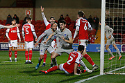 Goal celebration by John Marquis of Portsmouth, 0-2, during the The FA Cup match between Fleetwood Town and Portsmouth at the Highbury Stadium, Fleetwood, England on 4 January 2020.