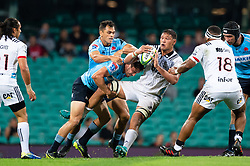 March 23, 2019 - Sydney, NSW, U.S. - SYDNEY, NSW - MARCH 23: Crusaders player Whetu Douglas (8) looks to pass the ball at round 6 of Super Rugby between NSW Waratahs and Crusaders on March 23, 2019 at The Sydney Cricket Ground, NSW. (Photo by Speed Media/Icon Sportswire) (Credit Image: © Speed Media/Icon SMI via ZUMA Press)