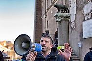 Roma 10 Dicembre 2014<br /> Presidio  in Campidoglio, organizzato da Casapound Italia, dopo Investigation &quot;Mafia capitale&quot; della Procura di Roma, per chiedere le dimissioni del sindaco Ignazio Marino e elezioni subito. Simone Di Stefano, vicepresidente di CasaPound Italia con il megafono<br /> Rome December 10, 2014<br /> The garrison  at Capitol, organized by Casapound Italy , after  Investigation   &quot;Mafia capital&quot; of the prosecutor of Rome , to ask  the resignation of Mayor Ignazio Marino and elections immediately. Simone Di Stefano, vice president of CasaPound Italy with megaphone