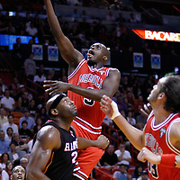 06 March 2010: Chicago Bulls small forward Luol Deng (9) goes for the layup during the Chicago Bulls 87-86 victory over the Miami Heat at the AmericanAirlines Arena, Miami, Florida, USA.