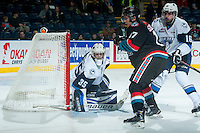 KELOWNA, CANADA - DECEMBER 3: Nik Amundrud #35 of Saskatoon Blades defends the net against the Kelowna Rockets on December 3, 2014 at Prospera Place in Kelowna, British Columbia, Canada.  (Photo by Marissa Baecker/Shoot the Breeze)  *** Local Caption *** Nik Amundrud;
