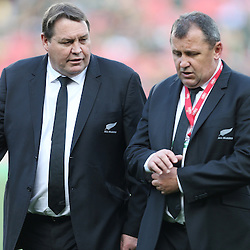 JOHANNESBURG, SOUTH AFRICA - OCTOBER 04: Steve Hansen (Head Coach) of New Zealand with Ian Foster (Assistant Coach )of New Zealand during The Castle Rugby Championship match between South Africa and New Zealand at Ellis Park on October 04, 2014 in Johannesburg, South Africa. (Credit Steve Haag/Gallo Images)