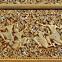 Carriage House Panel at Wat Xieng Thong in Luang Prabang, Laos <br />