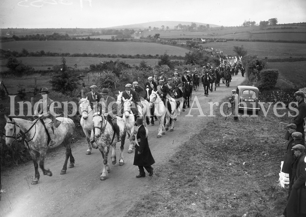 H3255 Oulart Hill ' 98 Commemoration. Procession - men with pikes etc. 30/5/1938. (Part of the Independent Ireland Newspapers/NLI Collection) <br /> Farming