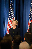December 1st 2008 - Chicago, IL - Press Conference with newly elected President Barack Obama at the Hilton Hotel in downtown Chicago...Hillary Rodham Clinton at press conference where Obama announced his security team with Vice President-elect Joe Biden.  Hillary Rodham Clinton was introduced as secretary of state, retired Marine Gen. James Jones as White House national security adviser, Eric Holder as attorney general and Arizona Governor, Janet Napolitano as secretary of homeland security, and United Nations Ambassador Susan Rice. Robert Gates will remain as the defense secretary...Photo Credit: Heather A. Lindquist/Sipa..
