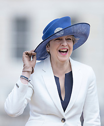 LONDON - UK- 12th July 2017:  UK Prime Minister Theresa May.<br /> The arrival ceremony of HM The King and Queen of Spain in London. King Felipe and Queen Letizia arrive for the official arrival ceremony on Horseguards in London and greeted by HM Queen Elizabeth and HRH The Duke of Edinburgh<br /> Photo by Ian Jones