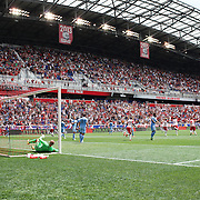 HARRISON, NEW JERSEY- JULY 24:  A general view of Red Bull Arena as Ronald Zubar #23 of New York Red Bulls heads his sides second goal as he beats goalkeeper Josh Saunders #12 of New York City FC during the New York Red Bulls Vs New York City FC MLS regular season match at Red Bull Arena, Harrison, New Jersey on July 24, 2016 in Harrison, New Jersey. (Photo by Tim Clayton/Corbis via Getty Images)