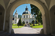 ETTAL, GERMANY - SEPTEMBER 02, 2010: Unidentified people visit Ettal Abbey, a Benedictine monastery in Ettal, Germany.