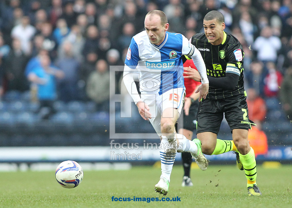 Picture by Michael Sedgwick/Focus Images Ltd +44 7900 363072.23/02/2013.Danny Murphy of Blackburn Rovers and Lee Peltier of Leeds United in action during the npower Championship match at Ewood Park, Blackburn.