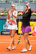 Caroline Garcia and Kristina Mladenovicduring the Madrid Open at Manzanares Park Tennis Centre, Madrid<br /> Picture by EXPA Pictures/Focus Images Ltd 07814482222<br /> 07/05/2016<br /> ***UK & IRELAND ONLY***<br /> EXPA-ESP-160507-0026.jpg