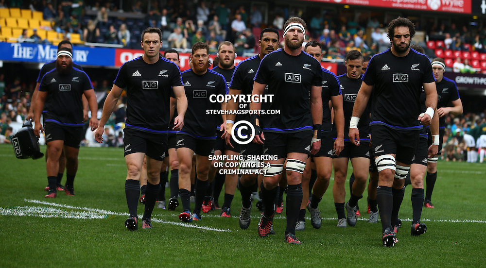 DURBAN, SOUTH AFRICA, 8 October, 2016 -Kieran Read (captain) of New Zealand leads the team off during the Rugby Championship match between South Africa and New Zealand at Kings Park in Durban, South Africa. (Photo by Steve Haag)