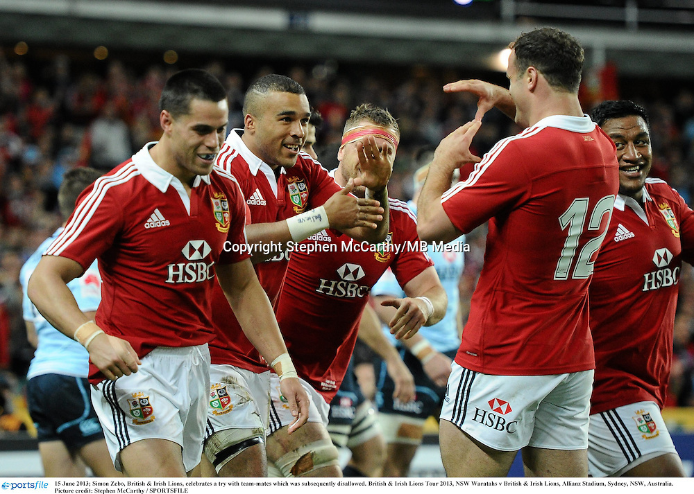 15 June 2013; Simon Zebo, British & Irish Lions, celebrates a try with team-mates which was subsequently disallowed. British & Irish Lions Tour 2013, NSW Waratahs v British & Irish Lions, Allianz Stadium, Sydney, NSW, Australia. Picture credit: Stephen McCarthy / SPORTSFILE