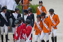 Team NED, Jeroen, Dubbeldam, Greco Schroder, Vrieling Jur, Ehrens Rob - Jumping Second Round Team Competition - Alltech FEI World Equestrian Games™ 2014 - Normandy, France.<br /> © Hippo Foto Team - Dirk Caremans<br /> 04/09/14