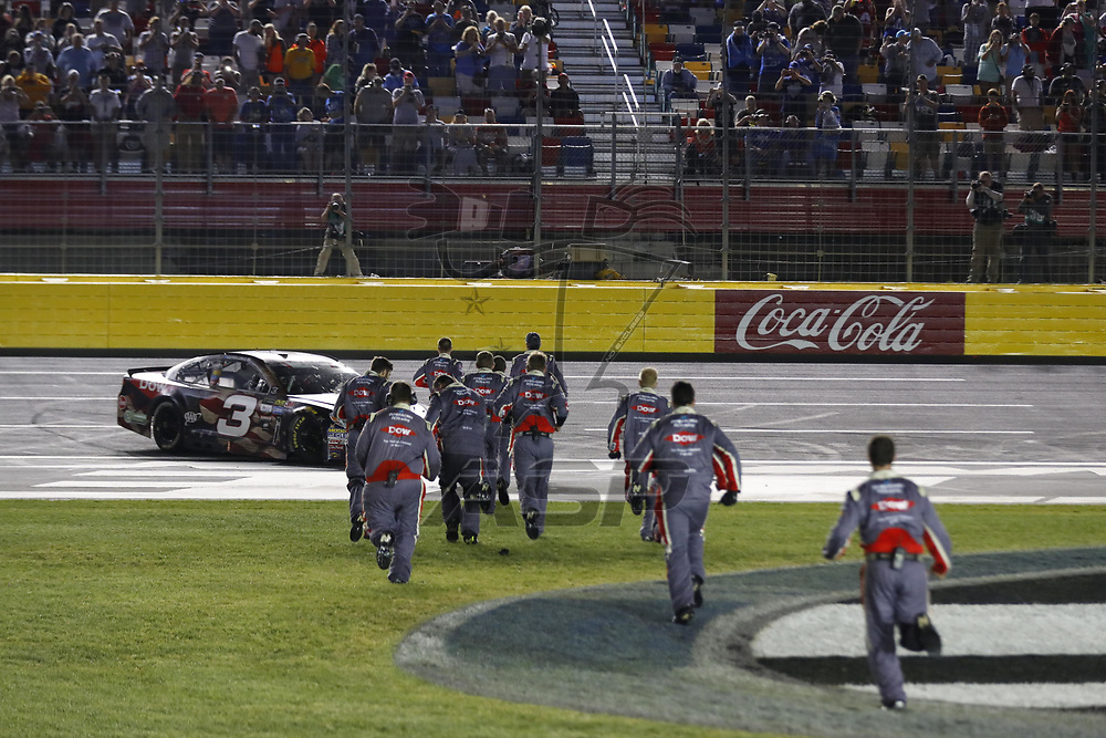 May 29, 2017 - Concord, NC, USA: Austin Dillon (3) celebrates after taking the checkered flag and winning the Coca Cola 600 at Charlotte Motor Speedway in Concord, NC.