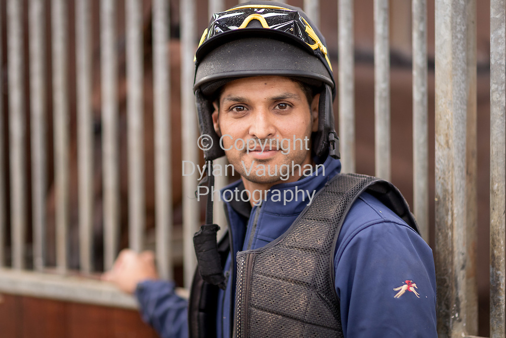 20-8-16<br />  <br /> Qasim Raza from Pakistan who came to Ireland in 2002 to train as a jockey with Willie Mullins pictured at Closutton stables, Bagenalstown, Co Carlow<br /> <br /> Picture Dylan Vaughan
