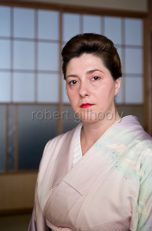 Geisha Fukutaro from Romania poses for a photo in Izu-Nagaoka, Shizuoka Prefecture, Japan..Photographer: Robert Gilhooly