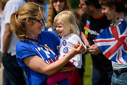 © Licensed to London News Pictures. 19/06/2016. London, UK. Emma Jelley dancing with her Two year-old Beatrice as they take part in 'The Big In' event at Hyde Park in London to promote an in vote at this week's EU membership referendum. Photo credit: Ben Cawthra/LNP