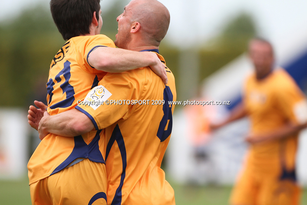 Otago United's Paul Seaman celebrates his goal, ASB Premiership Football, Hawkes Bay United v Otago. Park Island, Napier 14 November 2010. Photo: Bethelle McFedries / photosport.co.nz