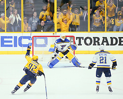 May 2, 2017 - Nashville, TN, USA - The Nashville Predators' Ryan Johansen (92) reacts after teammate James Neal scores an insurance goal against St. Louis Blues goaltender Jake Allen in the third period during Game 4 of the Western Conference semifinals on Tuesday, May 2, 2017, at the Bridgestone Arena in Nashville, Tenn. The Predators won, 2-1, for a 3-1 series lead. (Credit Image: © Chris Lee/TNS via ZUMA Wire)
