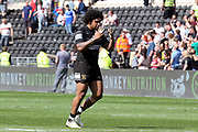 Hull FC half back Albert Kelly (6) celebrates scoring a try during the Betfred Super League match between Hull FC and Hull Kingston Rovers at Kingston Communications Stadium, Hull, United Kingdom on 19 April 2019.