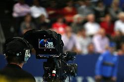 27.10.2012, St. Jakobshalle, Basel, SUI, ATP, Swiss Indoors, im Bild Kameramann filmt Roger Federer (SUI) // during ATP Swiss Indoors Tournament at the St. Jakobshall, Basel, Switzerland on 2012/10/27. EXPA Pictures © 2012, PhotoCredit: EXPA/ Freshfocus/ Daniela Frutiger..***** ATTENTION - for AUT, SLO, CRO, SRB, BIH only *****