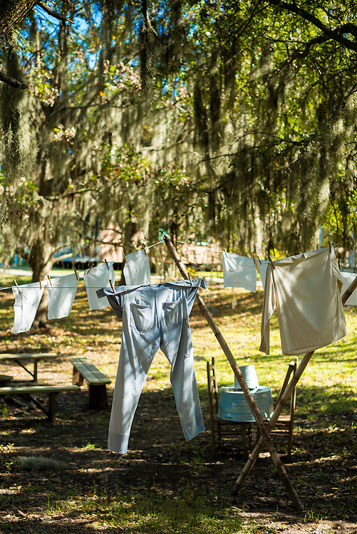 Washing line at Vermilionville living history museum and folklife of Acadian, Creole and Native American cultures, Lafayette, USA