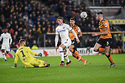 Ross Barkley (8) of Chelsea FC effort on goal is saved by George Long (1) of Hull City AFC during the The FA Cup match between Hull City and Chelsea at the KCOM Stadium, Kingston upon Hull, England on 25 January 2020.